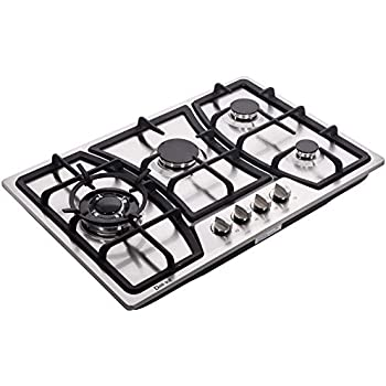 Hotfield HF825-SA03 34 inch Gas Cooktop stovetop 5 burners LPG//NG Dual Fuel 5 Sealed Burners Stainless Steel 5 Burner Built-In 110V AC pulse ignition with safety device