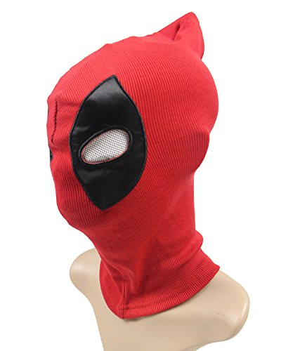 happyfun Cosplay Mask Halloween Party Headwear,Funny Movie Comics Costume Accessory Spandex Lycra Adult for DP Deadpool Mask -