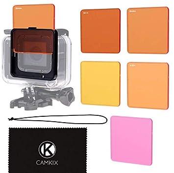 CamKix Juego de Filtro de Lentes de Buceo Compatible con GoPro Hero 6/5 Camara - Mejora Colores para Varios Videos submarinos y Condiciones de ...