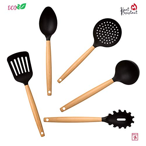 5 Piece Kitchen Utensil Set - Plastic Cooking Utensils For Nonstick Cookware - Silicone Cooking Utensils Set - Nylon Kitchen Tools And Gadgets Set - cooking ladle Slotted Spoon Spatula Set