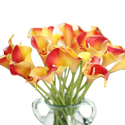 Artificial Flowers, Fake Flowers Artificial Calla Lily Bridal Wedding Bouquet for Home Garden Party Wedding Decoration 12Pcs (Red&Yellow) (Red And Yellow Wedding)