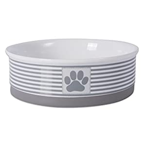 """Bone Dry DII Paw Patch & Stripes Ceramic Pet Bowl for Food & Water with Non-Skid Silicone Rim for Dogs and Cats (Large - 7.5"""" Dia x 4"""" H) Gray"""