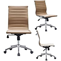 Tan Mid Rise Executive Leather Office Chair with Chrome Steel Base (Beige)