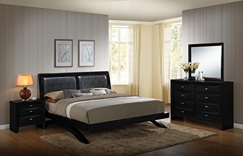 Price comparison product image Roundhill Furniture Blemerey 110 Wood Arch-Leg Bed Group with Queen Bed, Dresser, Mirror and Night Stand, Black