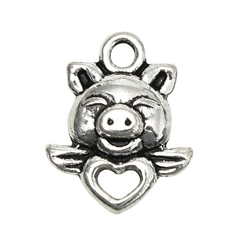 Monrocco 50 Pieces Pig Piggy Heart Wings Pendant Charms Antique Silver Jewelry Making Supply Charms Pig Piggy Heart Wings Beading for Necklace, Bracelet,Arts - Piggy Heart