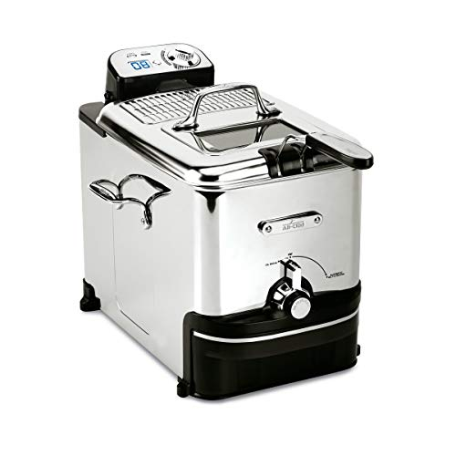 All-Clad EJ814051 3.5 L Easy Clean Pro Stainless Steel Deep Fryer with Digital Timer and Adjustable temperature, Silver