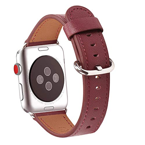 WFEAGL Compatible iWatch Band 38mm 42mm, Top Grain Leather Band Replacement Strap for iWatch Series 3,Series 2,Series 1,Sport, Edition (Wine Band+Silver Adapter, 38mm 40mm)