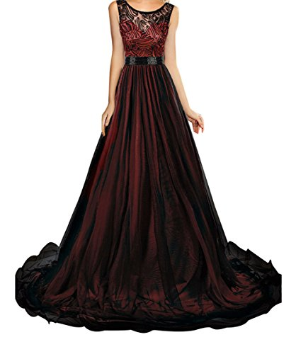 FQHOME Womens Sheer Lace Mesh Overlay Burgundy Queen Party Gown Size S