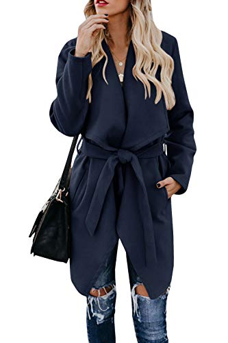 Chang Yun Womens Lapel Wool Blend Coat Cardigan Long Sleeve Casual Wrap Trench Overcoat Outwear with Belt Navy