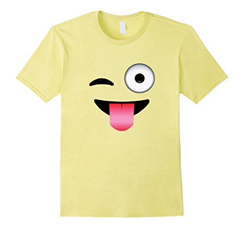 Outs Smiley Face (Mens Emoji Wink Tongue Out Crazy Smiley Face T-Shirt 3XL Lemon)