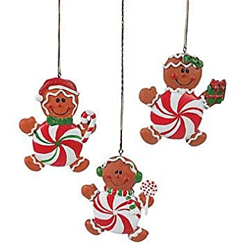 peppermint candy gingerbread man christmas ornaments 1 dozen - Candy Christmas Ornaments