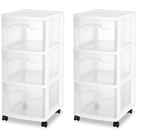 STERILITE 3 Drawer Cart, White Frame with Clear Drawers and Black Casters, (2-Pack) by STERILITE