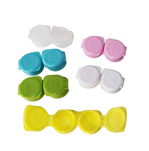 100-Pack Flip-Top Contact Lens Tight Lid Case Holder Storage Box Container Assorted Colors