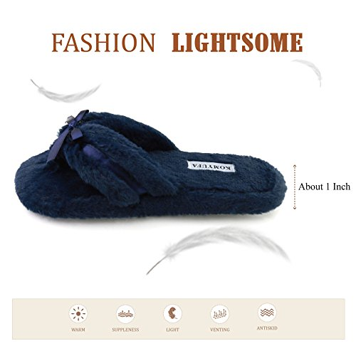 Women Flip Outdoor Indoor Lightweight Slipper Komyufa Winter Blue Navy and Fur House Foam Memory Slipper Soft Flop d1Fxqw4pq