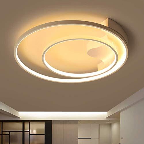 HELIn Modern Creativity LED Ceiling Light Fixture Flush Mount Dimmable Kitchen Living Room Ceiling Lamp, Round 2 Ring Design Style Metal Art Ceiling Chandelier Pendant Lights for Bathroom
