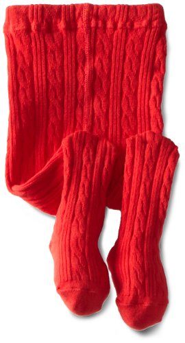 Jefferies Socks Baby Girls' Cable Tight, Red, 6 18 Months