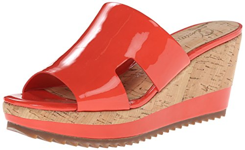 Delman Women's Viva Wedge Sandal, Vermillion Patent Leather, 8 M US Delman Leather Heels