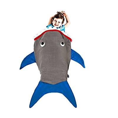 Shark Blanket for Toddlers by Blankie Tails - Super Soft, Double-Sided Shark Tail Blanket - Designed for Toddlers to Climb Inside - Gray Body with Blue Fins and Shark Teeth Accents