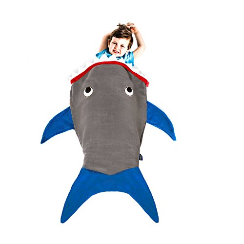 Shark Blanket for Toddlers by Blankie Tails - Super Soft, Double-Sided Shark Tail Blanket - Designed for Toddlers to Climb Inside - Gray Body with Blue Fins and Shark Teeth -
