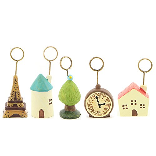 House Shaped Business Card (WAIT FLY 2pcs Lovely Cartoon Castle House Clock Iron Tower Tree Shaped Resin Card Holder Card Clamp Stand Table Note Memo Picture Photo Name Card Paper Clip Holder for Home Office)