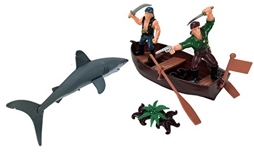 Bucket of Pirate Action Figures Playset with Boat, Treasure Chest, Cannons, Shark, Pirate Ship, and More!