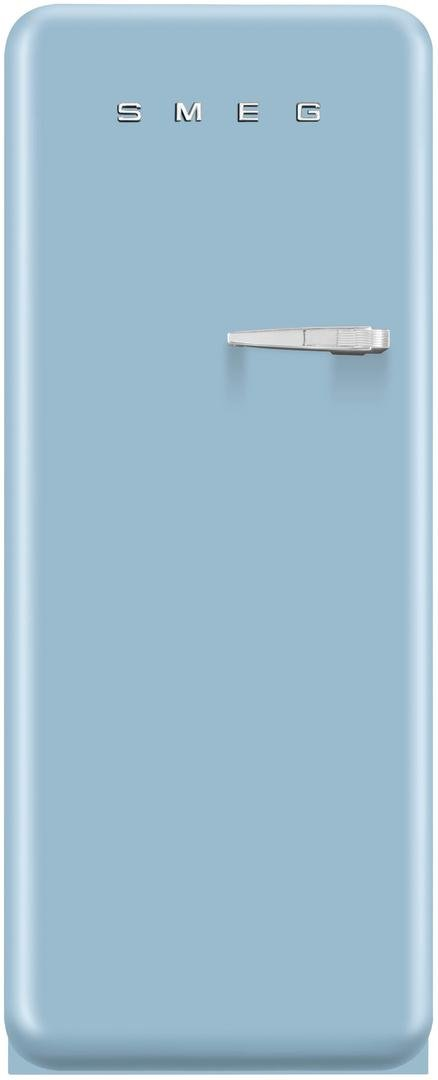 Smeg FAB28UPBL1 24'' 50s Retro Style Top-Freezer Refrigerator with 9.22 Cu. Ft. Capacity Ice Compartment Interior Light Adjustable Glass Shelves and Bottle Storage in Pastel Blue: Left