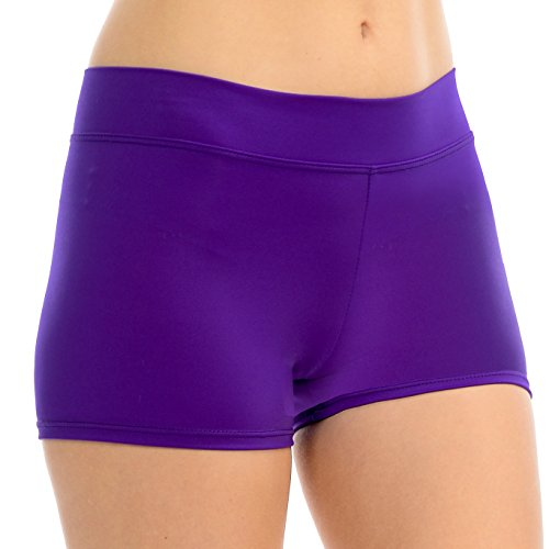 ANZA Girls Active Wear Dance Booty Shorts-Purple,Medium(8/10) by Anza Collection