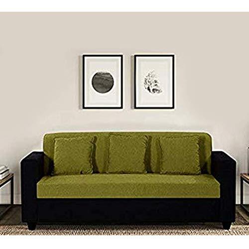Furny 3 Seater Jazz Green  Black Fabric Sofa Set