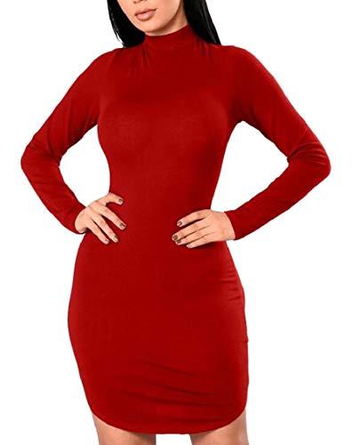 Jaycargogo Womens Manches Longues Sexy Dos Nu Rouge Moulante Clubwear Mini-robe