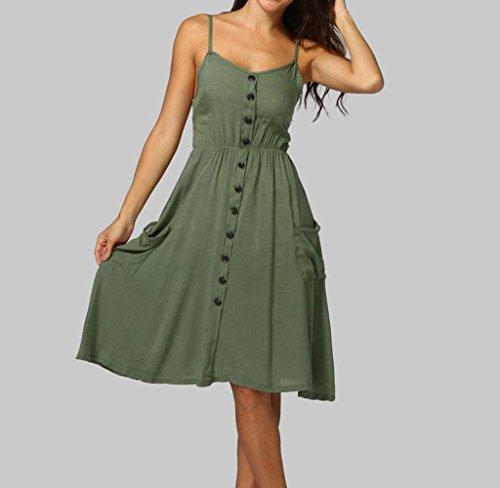 78d6c3937f08 ... Amcool Sommerkleider Damen Ärmellos V-Ausschnitt Strand Kleider Elegant  Abendkleid Armeegrün mEppXoZ ...