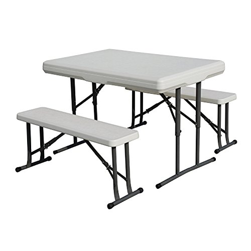 Camp Table, Accommodates 4 Campers, Sets up in Seconds, Ideal for Camping and Tailgating, Made of High-Density Polyethylene HDPE, Table and Bench Seats Include Quality Steel Telescopic (Oak Plastic Folding Table)