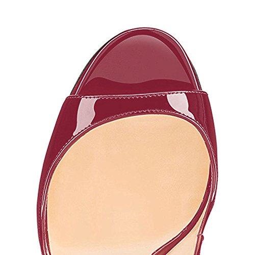 Ubeauty Vino Tacco Classici Classiche Peep Da Col Donna Sandali Scarpe 120mm rosso Toe rFqBwrP