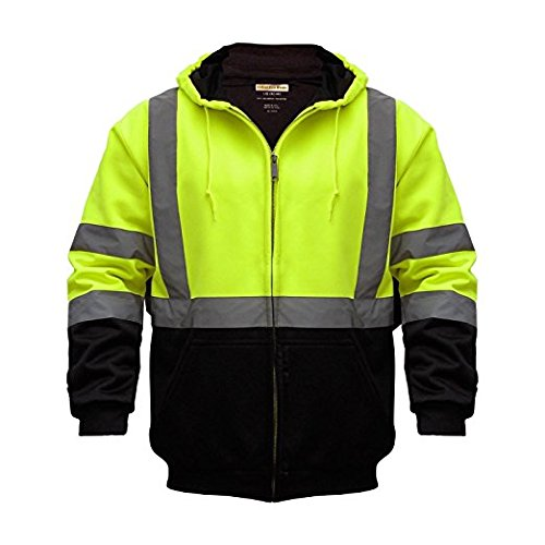 High Visibility Reflective Outdoor Jacket: Softshell Hooded Jackets for Hunting and Construction with Teflon Fabric Protector in Yellow/Black 3X-Large