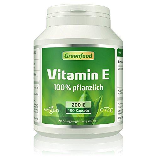 Vitamin E, 200 iE, vegan, 120 Kapseln – wichtiger Anti-Aging-Faktor, schützt vor freien Radikalen. OHNE künstliche Zusätze. Ohne Gentechnik. Vegi-Kapseln, vegan.
