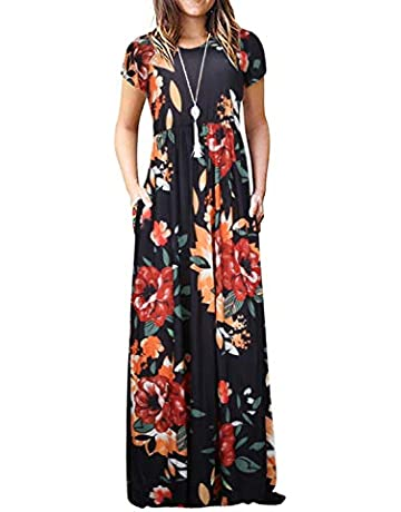 6e377f3012381a Women's Casual Summer Floral Short Sleeve Loose Plain Long Maxi Dress with  Pockets