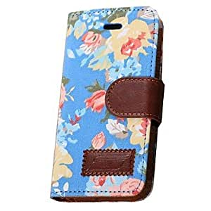 JJE Flower Pattern Canvas Holster Case for iPhone 5C (Assorted Colors) , Blue