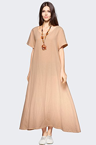 Anysize Pockets Spring Side Summer Linen Cotton F131A Size Dress Soft Plus Loose Camel Clothing qBq5r0x