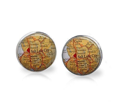 Salt Lake City Map Stud Stainless Steel Earrings 12mm - - Map Place Pioneer