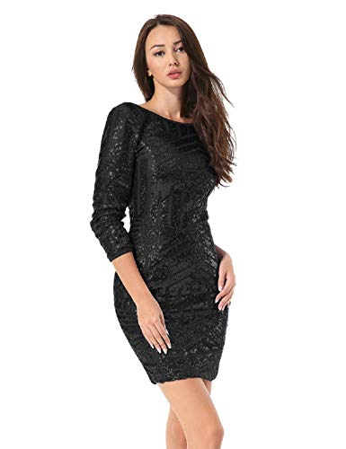 Hiistandd Women Sequin Glitter Long Sleeve Round Neck Backless Bodycon Stretchy Party Dress Black