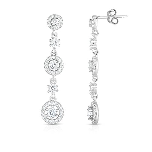 Spoil Cupid Rhodium Plated Sterling Silver Cubic Zirconia Halo Stations Chandelier Dangle Drop Earrings