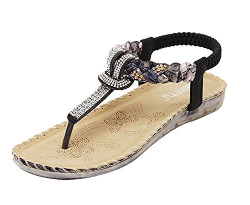Sandalias Negro Antideslizante Cómodo Women de Sandalias Slippers Shoes Bottom Mujer Flat Bohemia Hellomiko Summer x4ZqxR