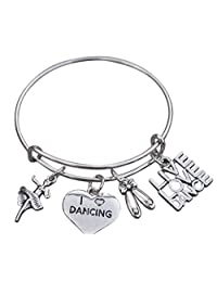 Dance Bangle Bracelet- Girls Dance Jewelry - Perfect Gift For Dance Recitals, Dancers and Dance Teams
