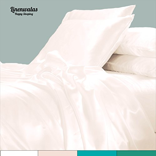 Bamboo Sheets Queen - Softest And Thermal Regulating Sheets - Anti Bacterial Bed Sheet Set - 100 % Natural Bamboo By Linenwalas, India (Queen, Ivory)