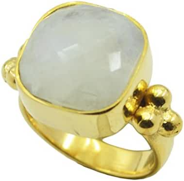 tantalizing Rainbow Moonstone Gold Plated White Ring supplies L-1.5 US