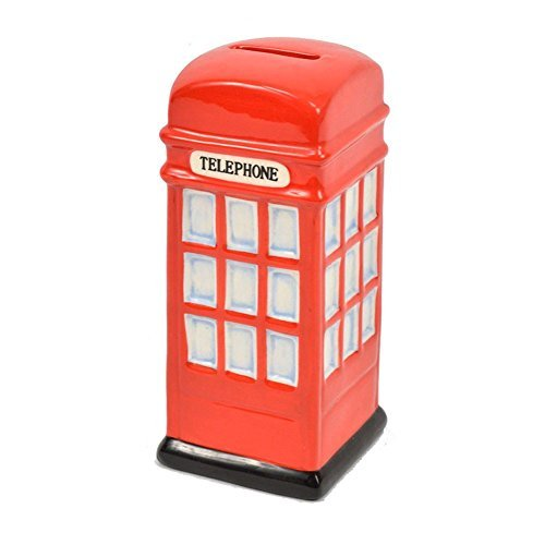 Figure Phone - Concepts in Time Red Ceramic Phone Booth Money Bank 6 Inches