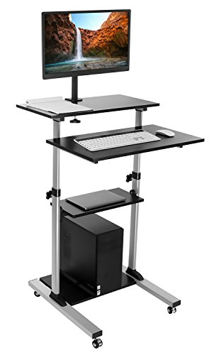 Mount-It! Mobile Stand Up Desk / Height Adjustable Computer Work Station Rolling Presentation Cart With Monitor Arm (MI-7942) -