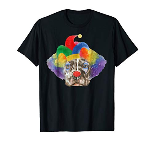 Pitbull in Clown Makeup Wig and Jester Hat Tshirt