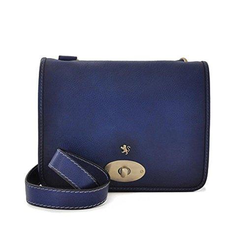 Pratesi Postina envejecido bolso de cuero italiano del mensajero, bolso de hombro (negro) azul oscuro
