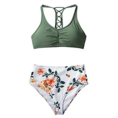 CUPSHE Women's High Waisted Bikini Floral Lace Up Two Piece Swimsuits: Clothing