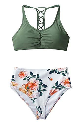 CUPSHE Women's Celadon Green Floral Lace Up High Waisted Bikini Medium
